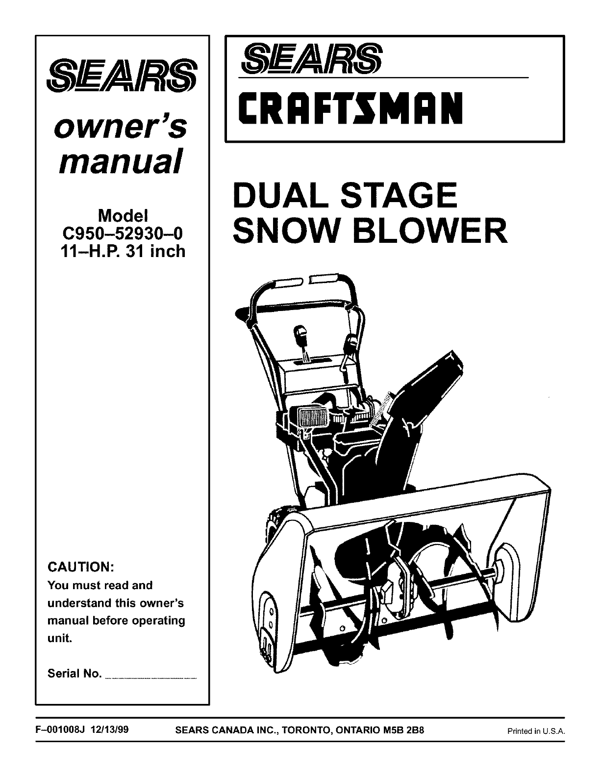 Craftsman Snow Blower C950-52930-0 User Guide
