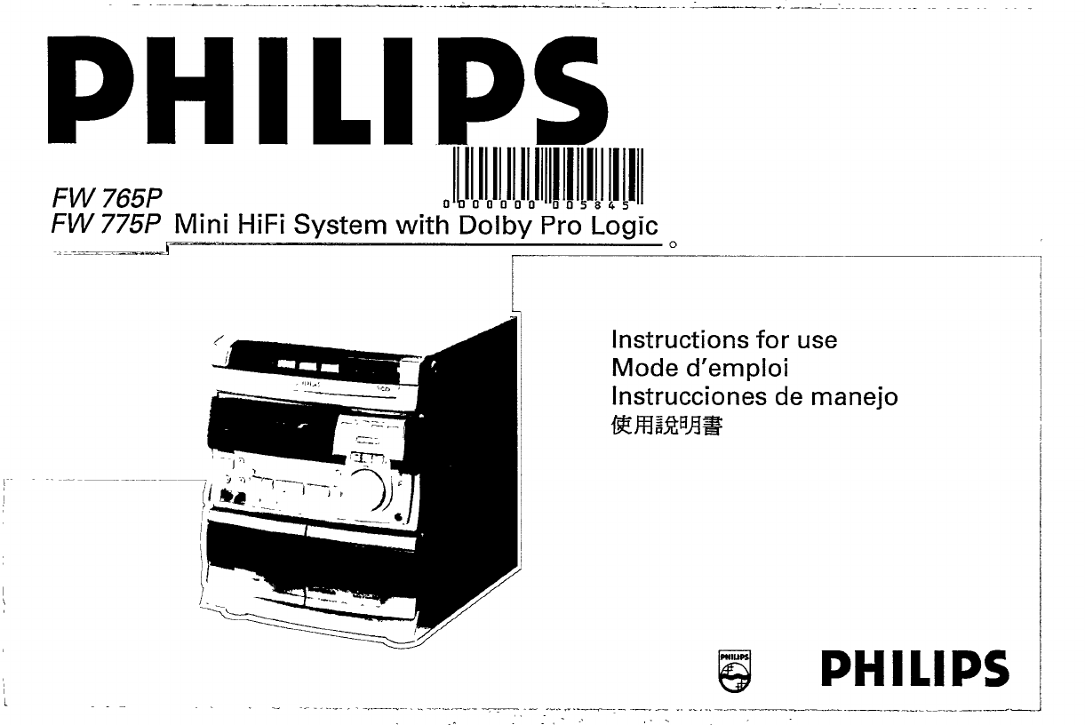 Philips Stereo System Fw775p User Guide