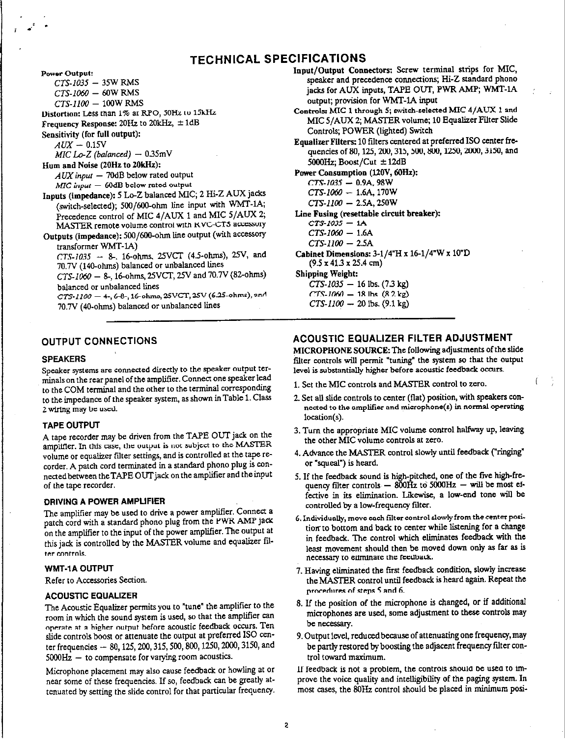 Page 2 of Bogen Stereo Amplifier CTS-1100 User Guide