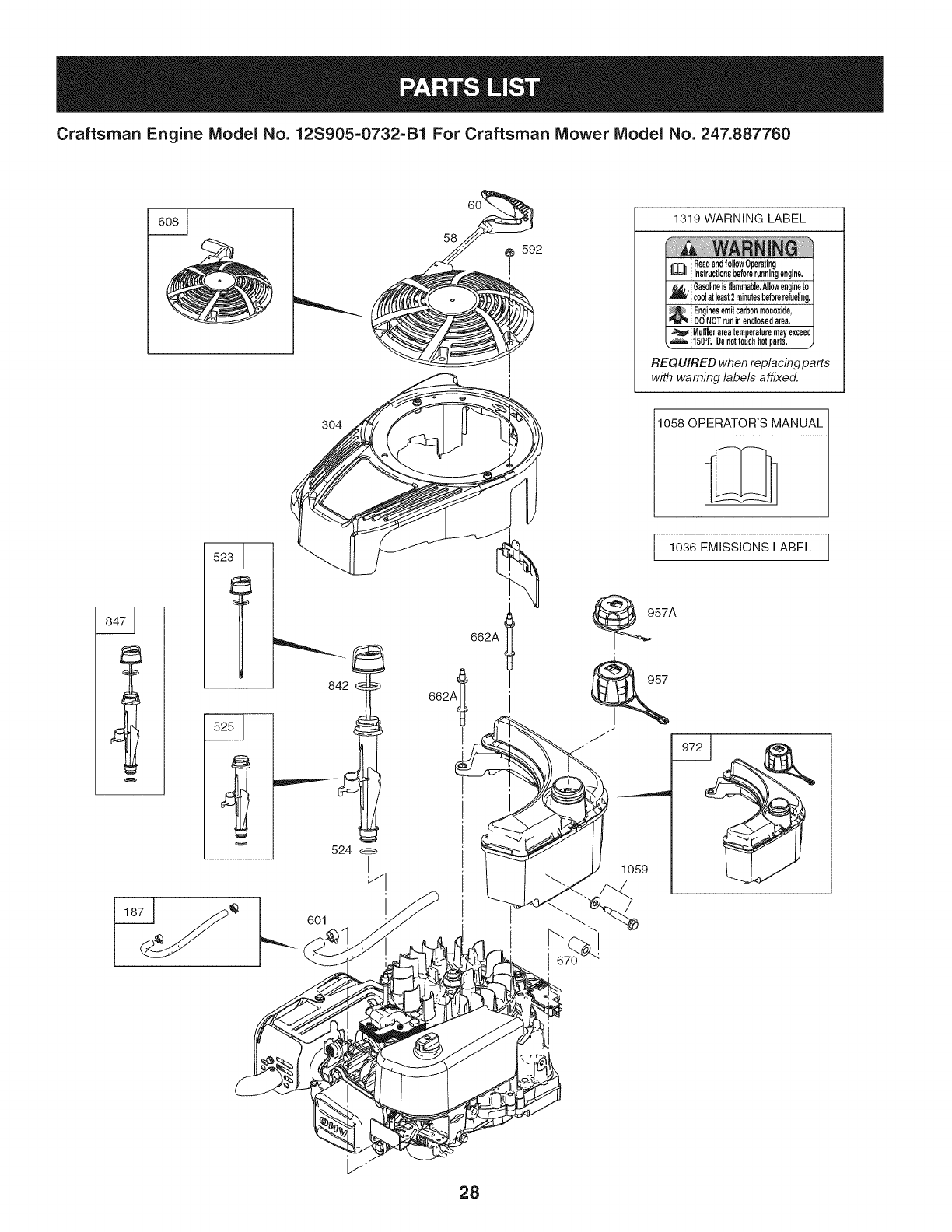Page 28 of Craftsman Lawn Mower 247.887760 User Guide