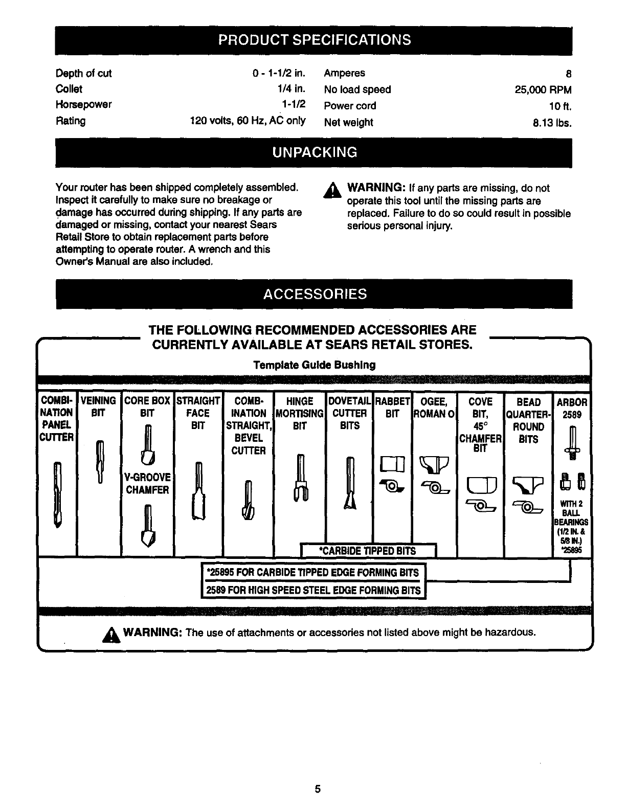 Page 5 of Craftsman Router 315.175 User Guide