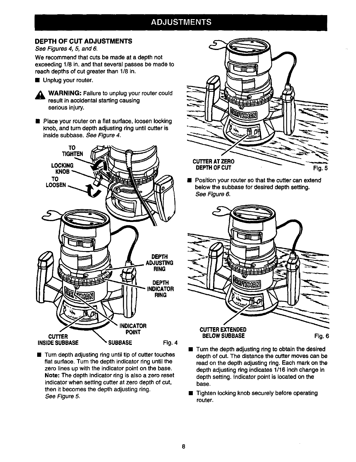Page 8 of Craftsman Router 315.175 User Guide