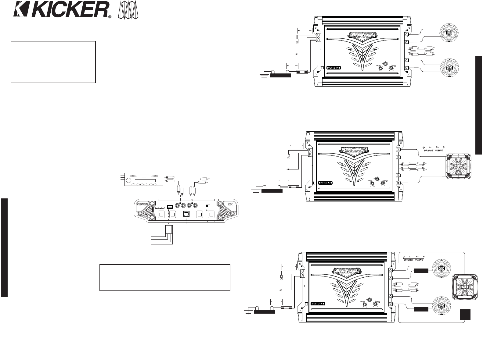 Page 2 of Kicker Stereo Amplifier ZX850.2 User Guide