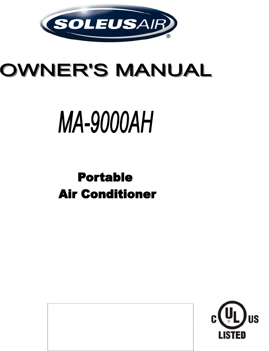 Soleus Air Air Conditioner MA-9000AH User Guide