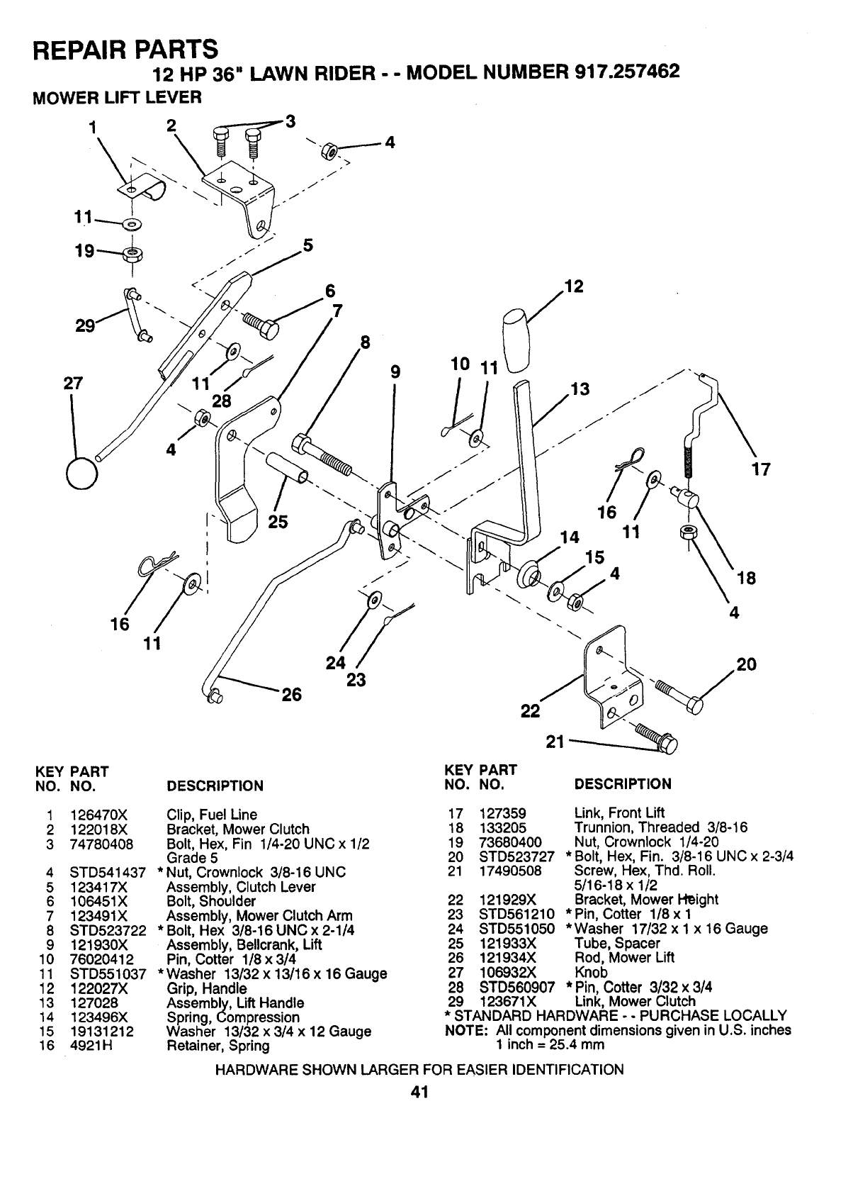 Page 41 of Sears Lawn Mower 917.257462 User Guide