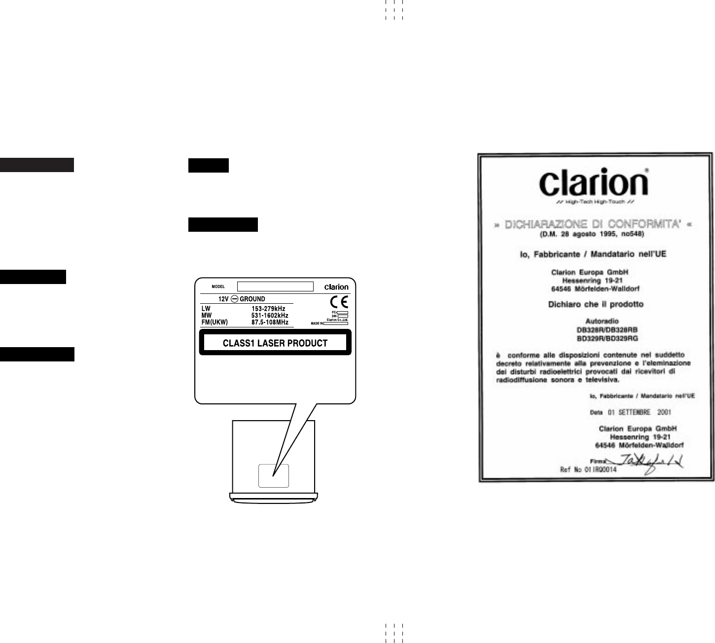 Page 2 of Clarion CD Player DB328R User Guide