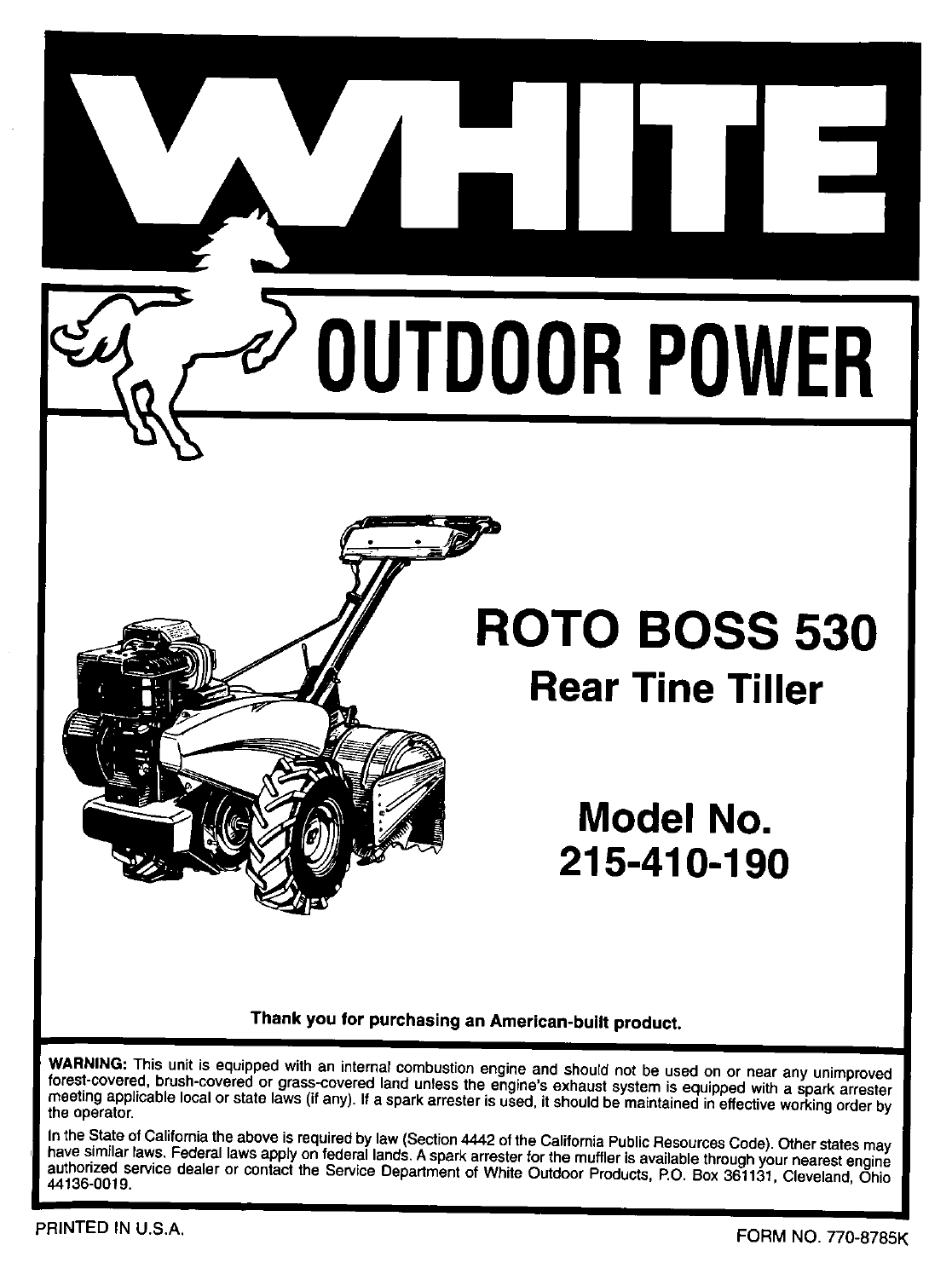White Outdoor Tiller 215-410-190 User Guide