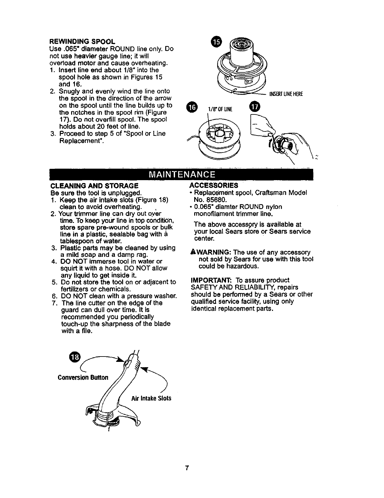 Page 7 of Craftsman Trimmer 900-74522 User Guide