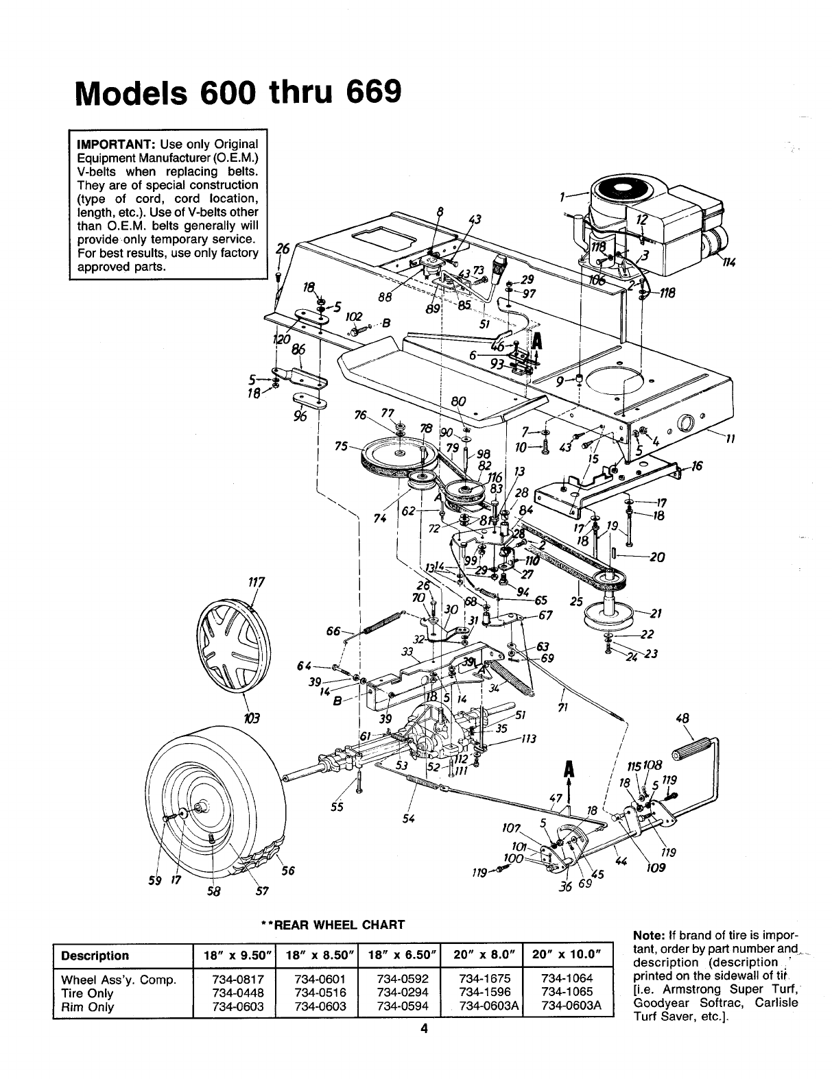 Page 4 of MTD Lawn Mower 600-669 User Guide