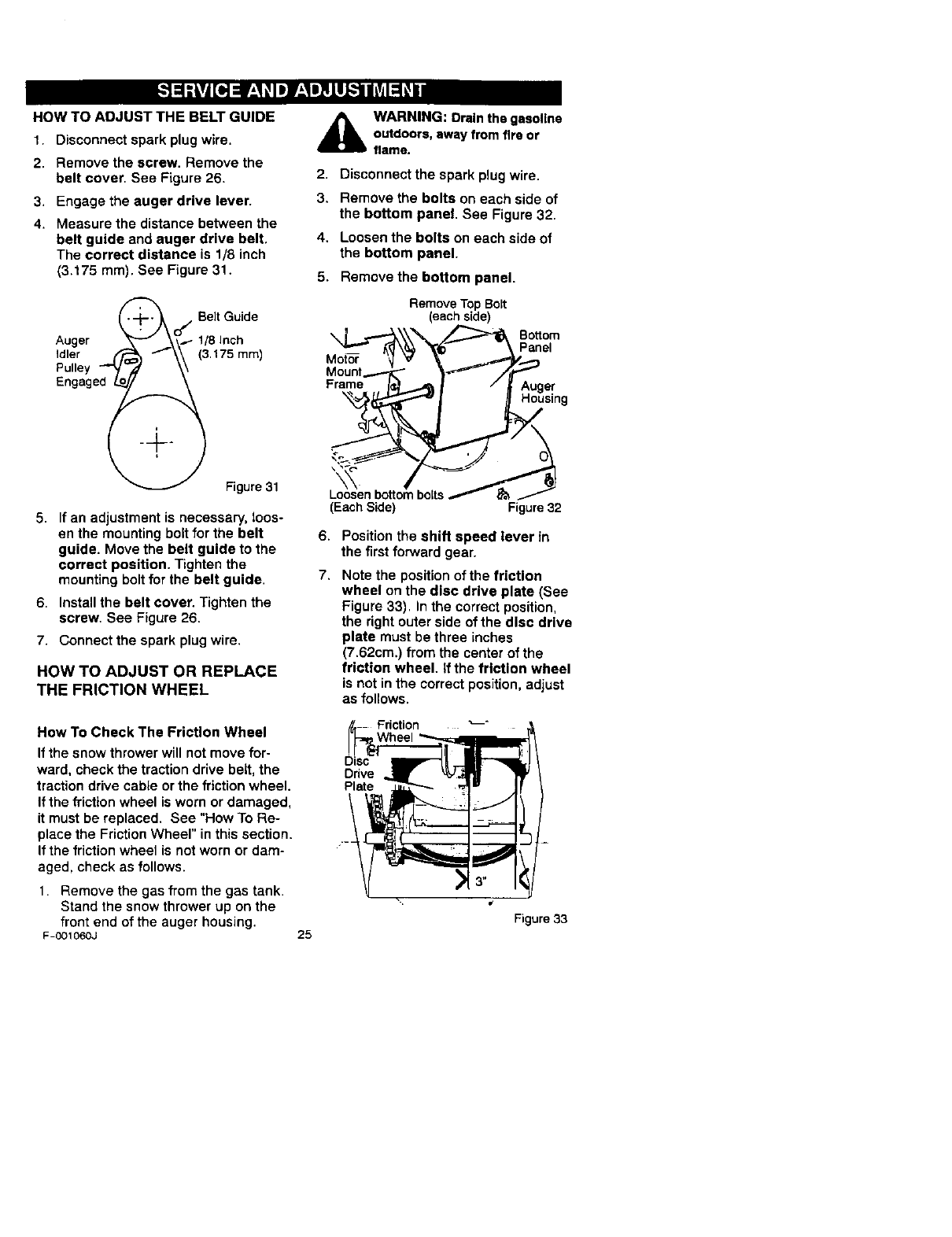 Page 25 of Craftsman Snow Blower 536.88113 User Guide