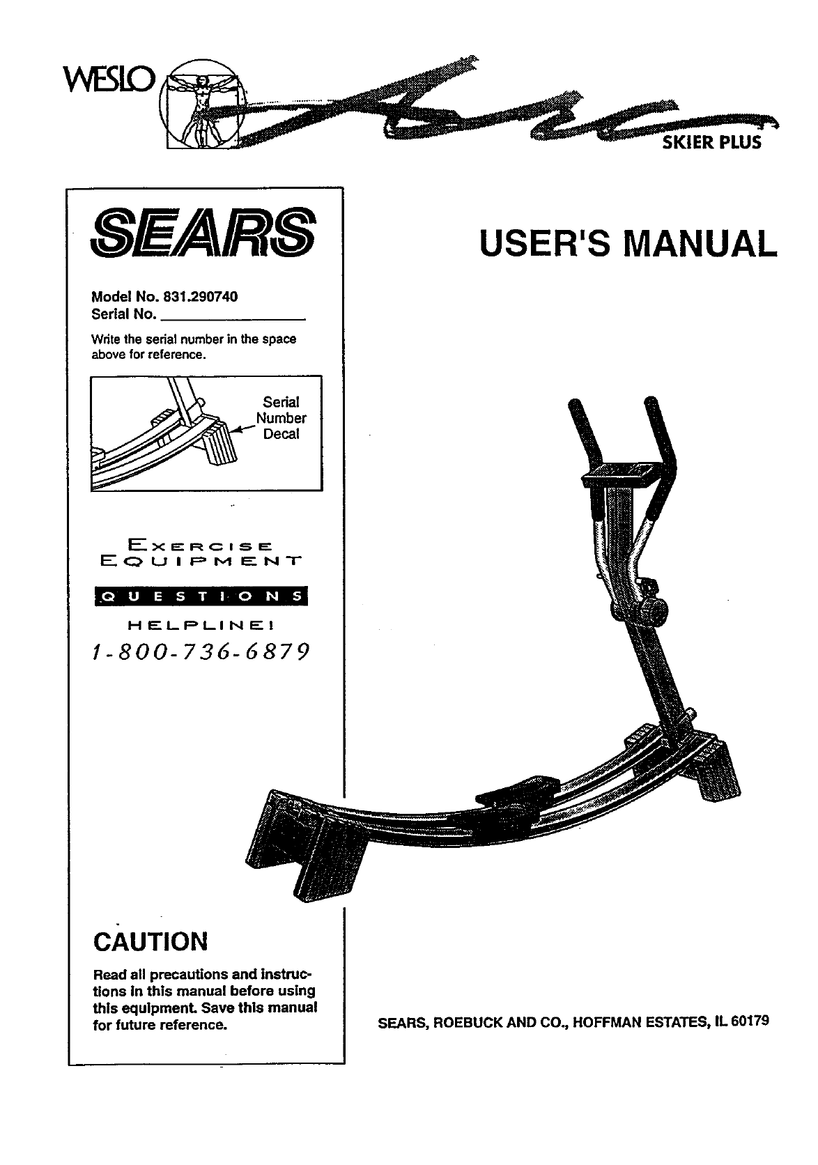 Sears Fitness Equipment 831.29074 User Guide
