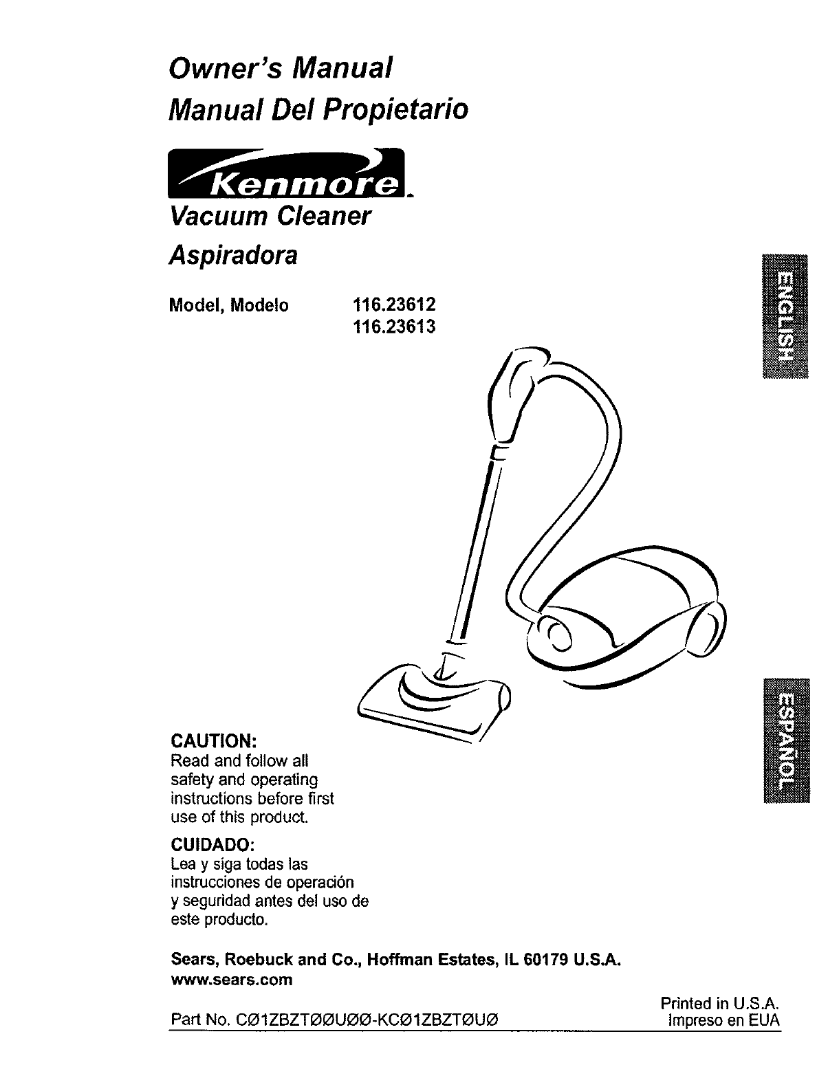 Kenmore Vacuum Cleaner 11623613300 User Guide