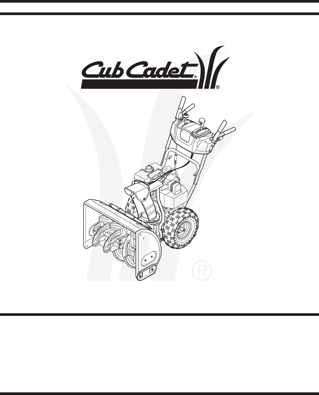Cub Cadet Snow Blower Two Stage Snow Thrower User Guide