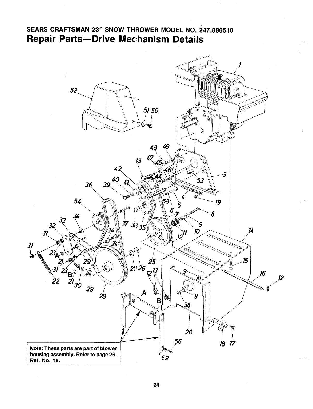 Page 24 of Sears Snow Blower 247 886510 User Guide
