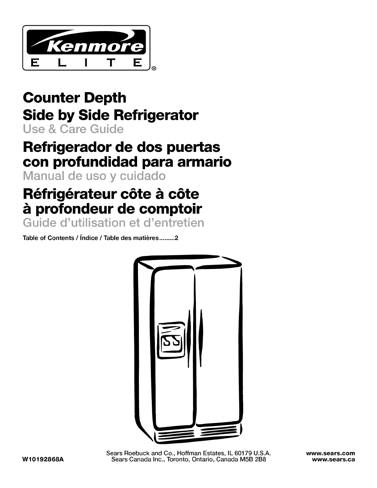 Kenmore Refrigerator 10645429800 User Guide