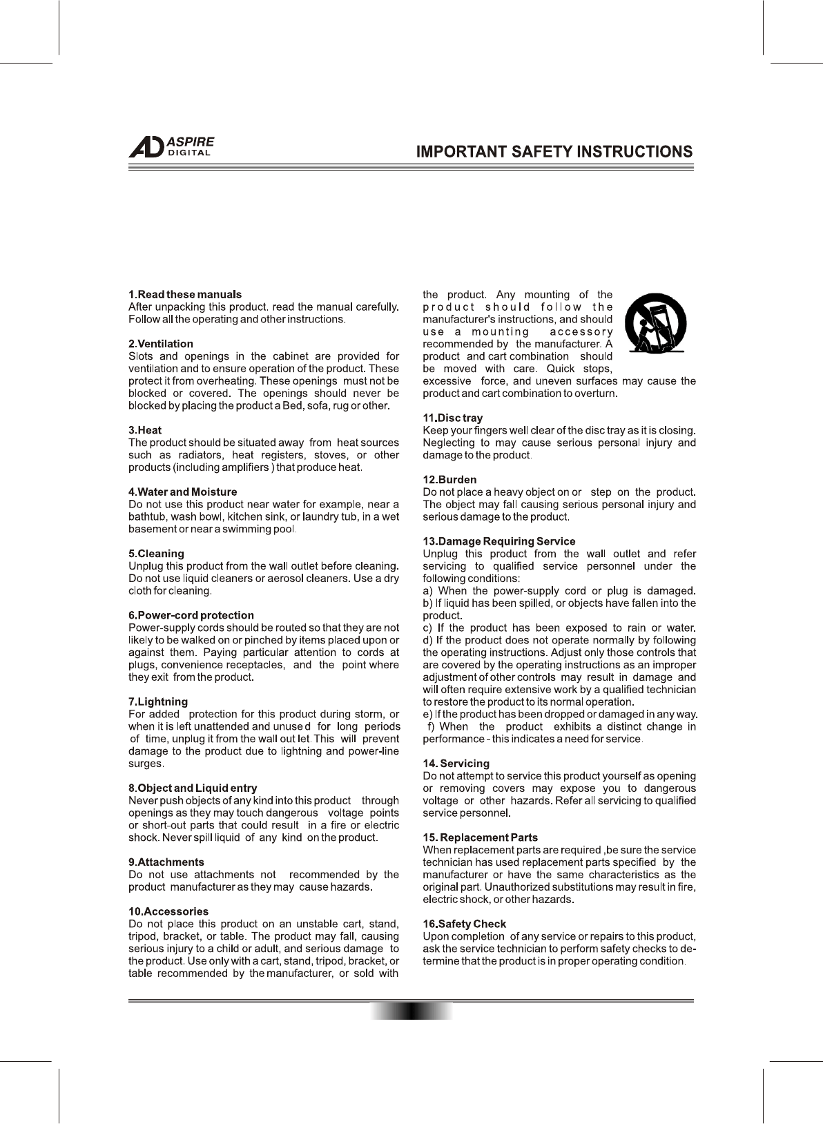 Page 5 of Aspire Digital DVD Player AD-N820B User Guide