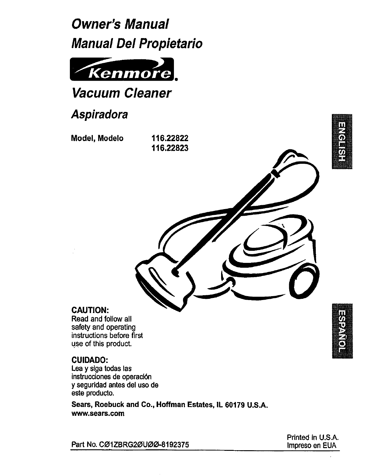 Kenmore Vacuum Cleaner 116.22822 User Guide