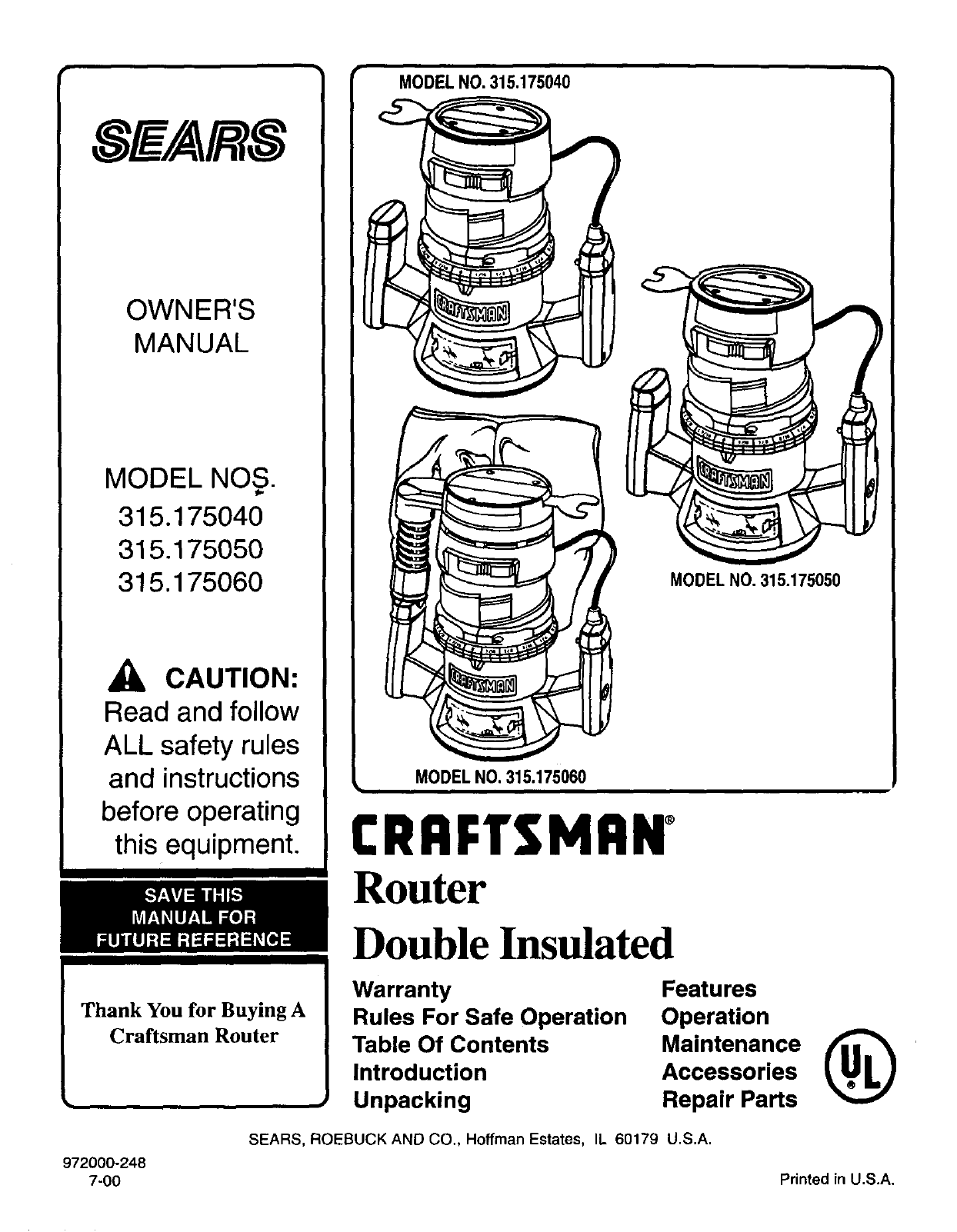 Sears Router Manual