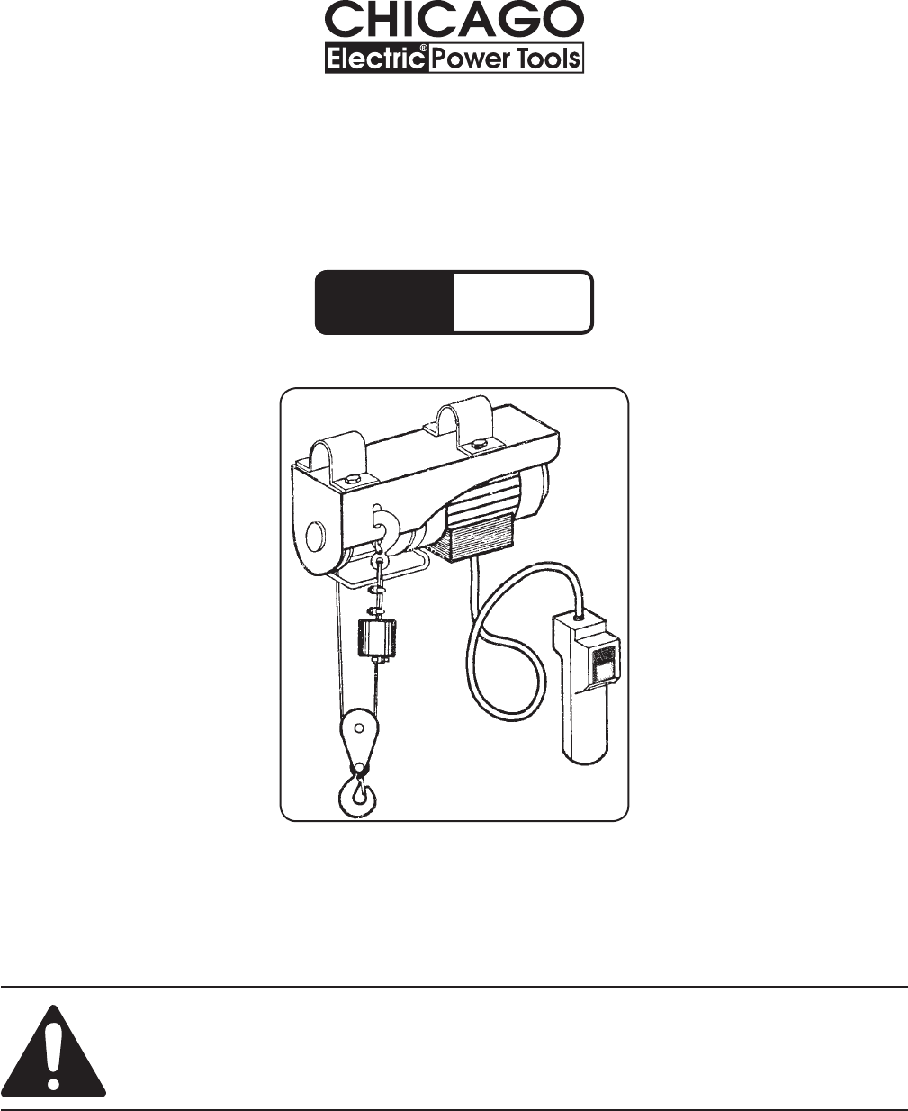 hight resolution of 440 lb electric hoist model 40765 set up and operating instructions