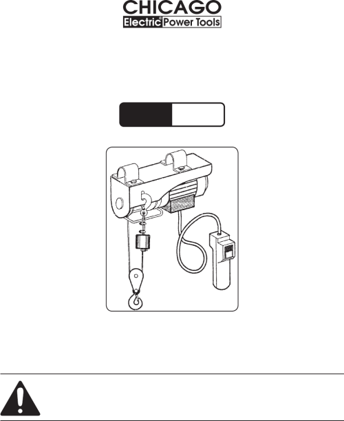 small resolution of 440 lb electric hoist model 40765 set up and operating instructions