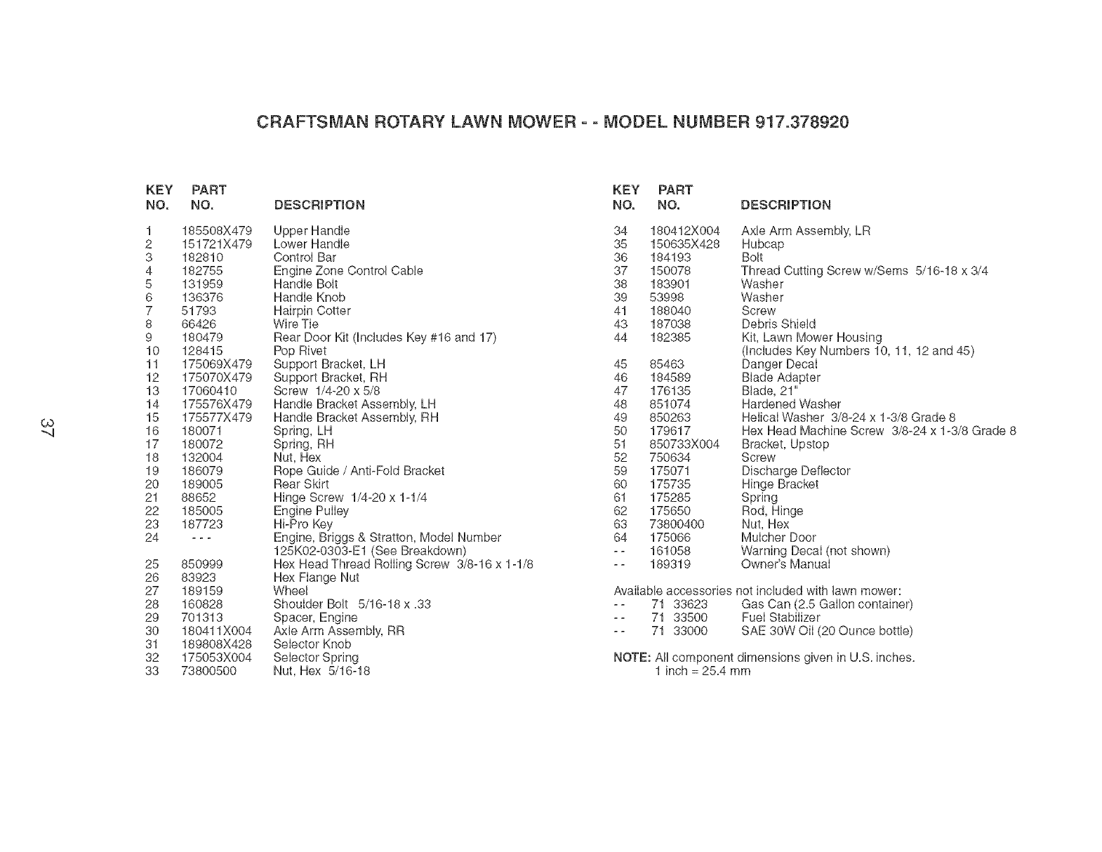 Page 37 of Craftsman Lawn Mower 917.37892 User Guide