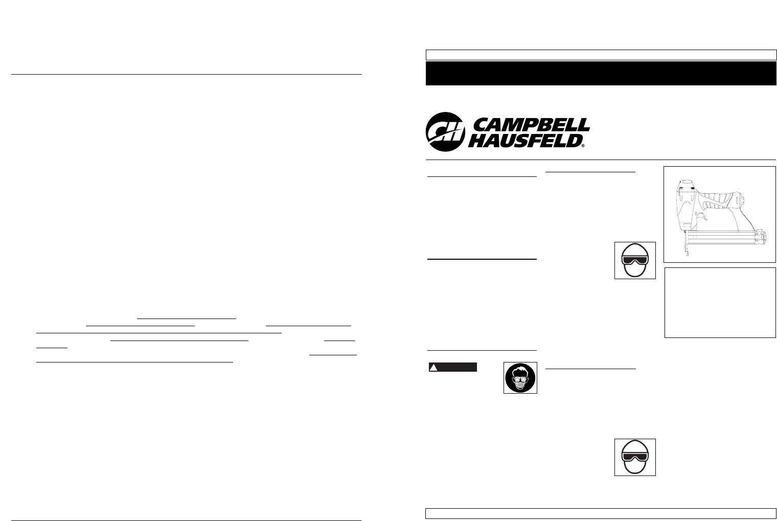 Campbell Hausfeld Nail Gun CHN101 User Guide