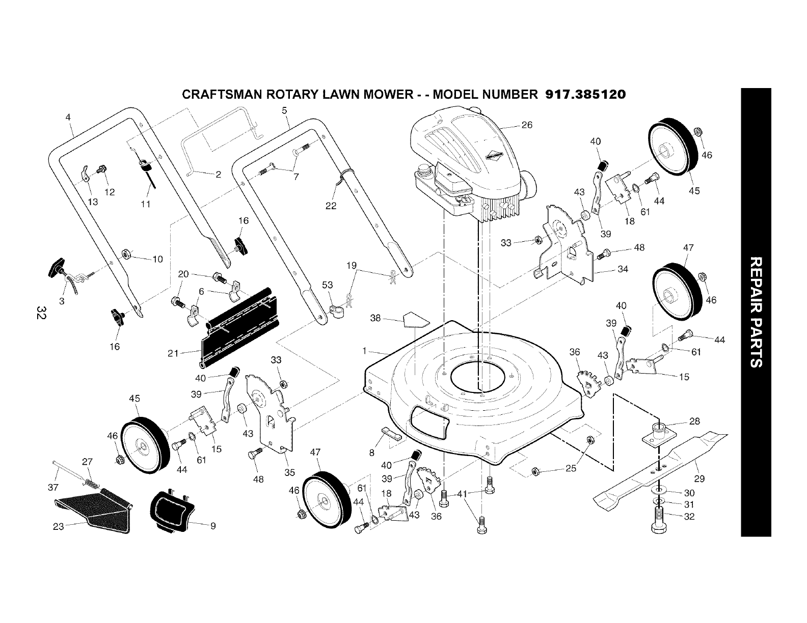 Page 32 of Craftsman Lawn Mower 917.385120 User Guide