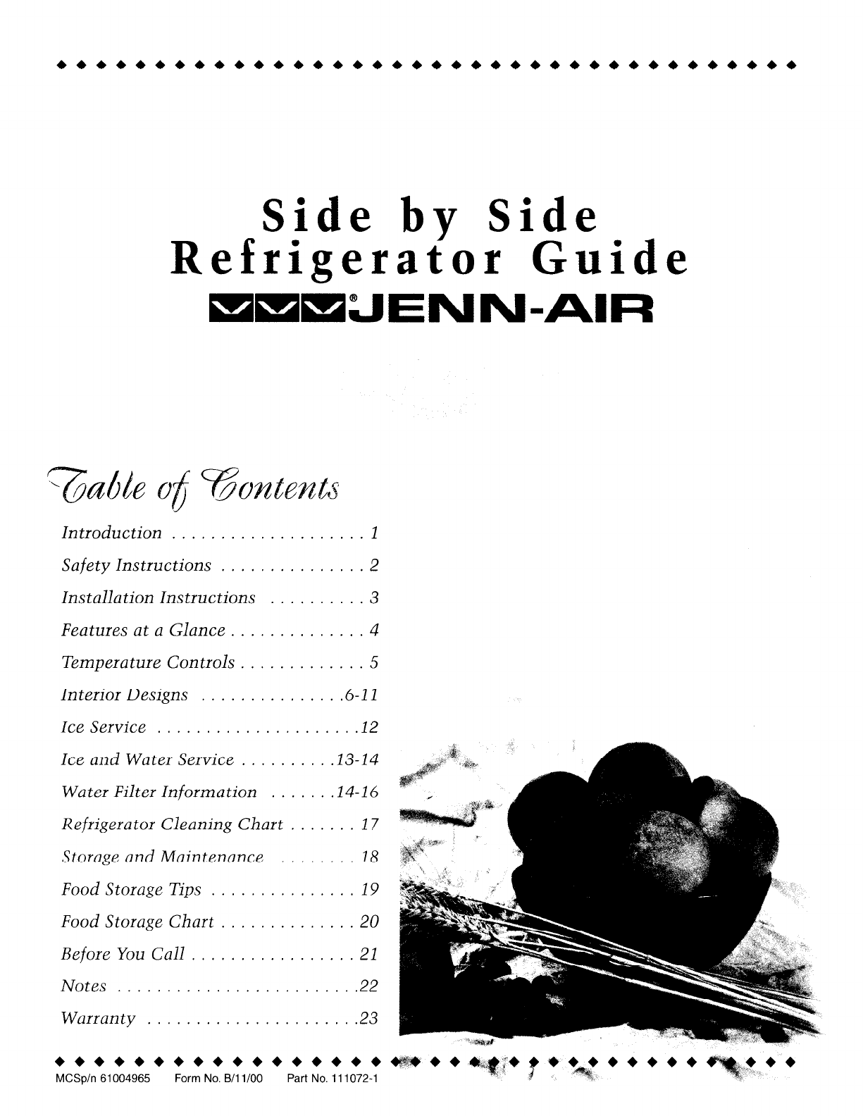 Jenn-Air Refrigerator JSD2789DES User Guide