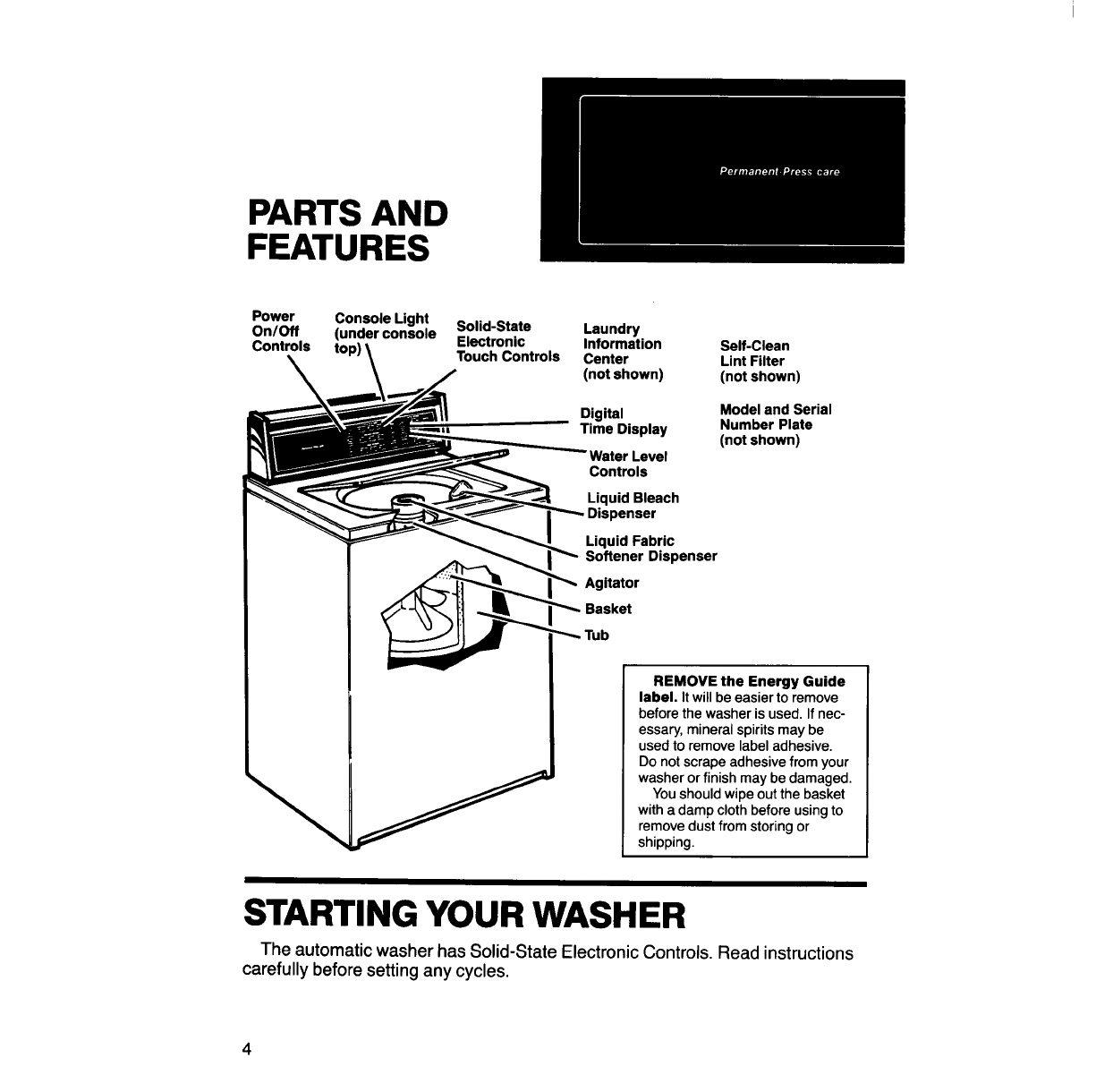 Page 4 of KitchenAid Washer KAWE900S User Guide