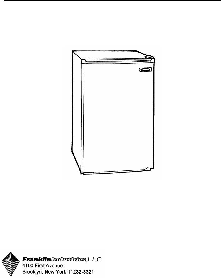Franklin Industries, L.L.C. Refrigerator FC-380 Series