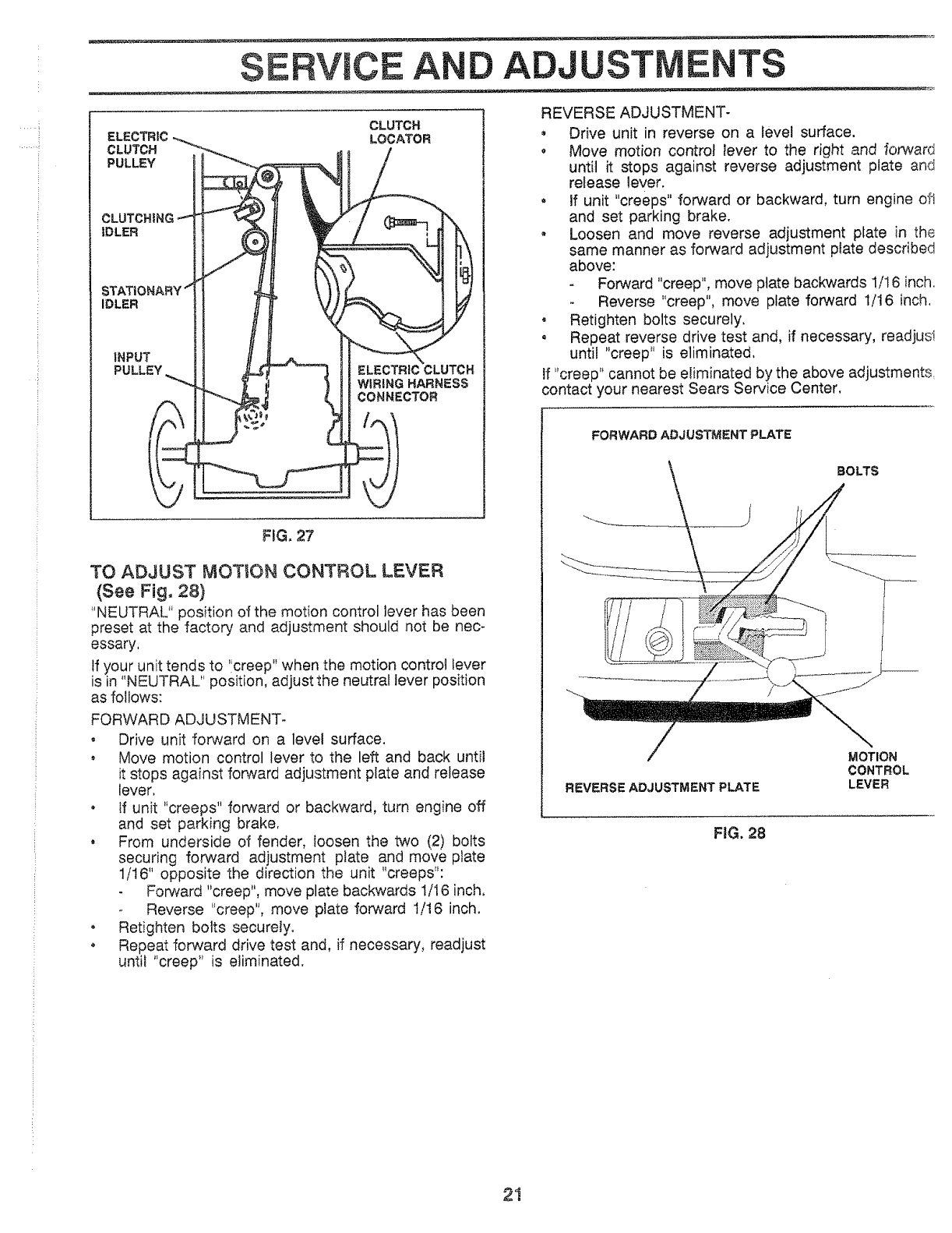 Page 21 of Sears Lawn Mower 917.25559 User Guide