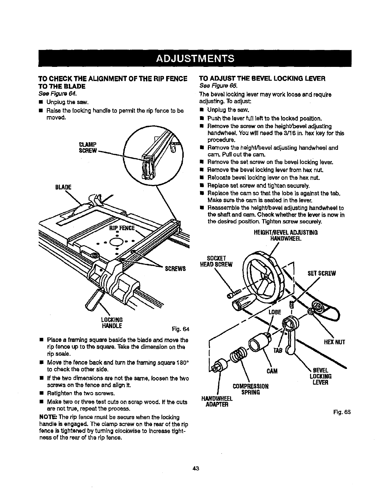 Page 43 of Craftsman Saw 315.21829 User Guide