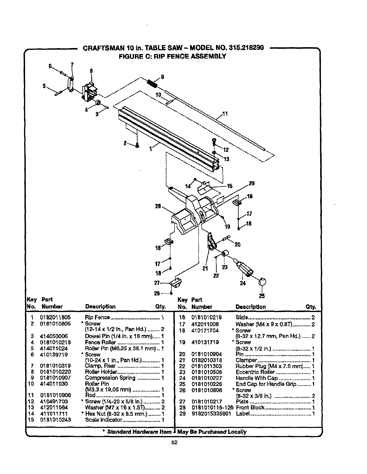 Page 52 of Craftsman Saw 315.21829 User Guide