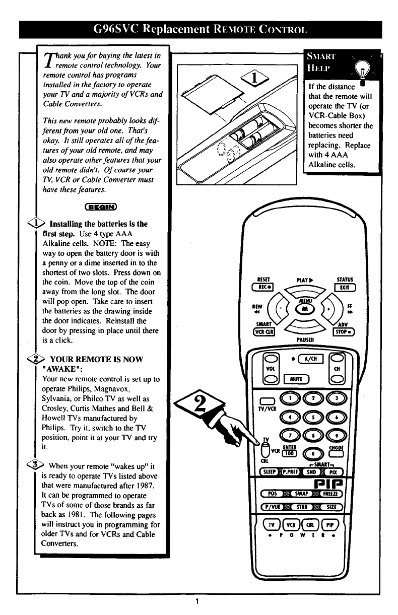 Philips Universal Remote G96SVCAA01 User Guide