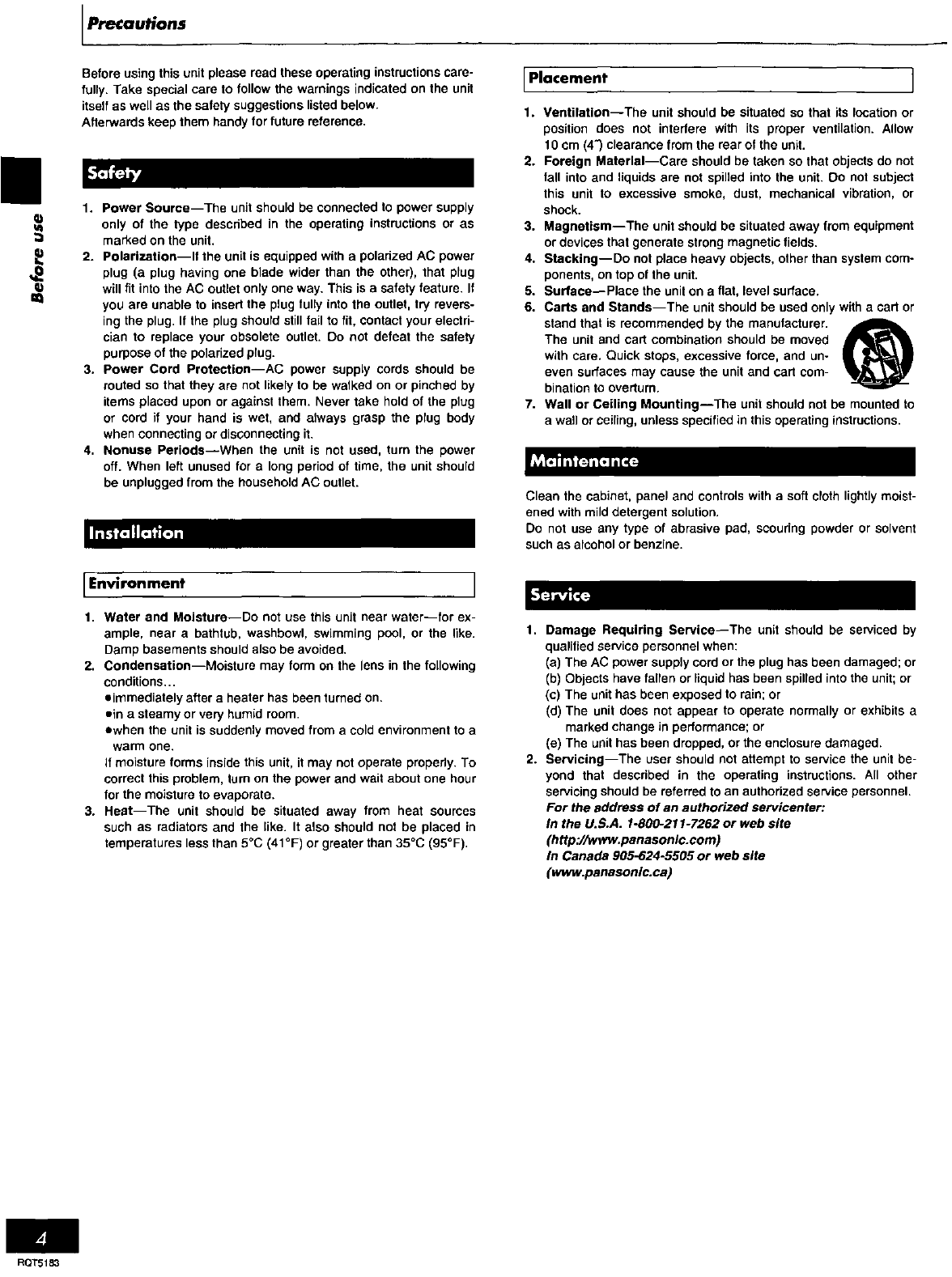 Page 4 of Panasonic Cassette Player RX-ES20 User Guide