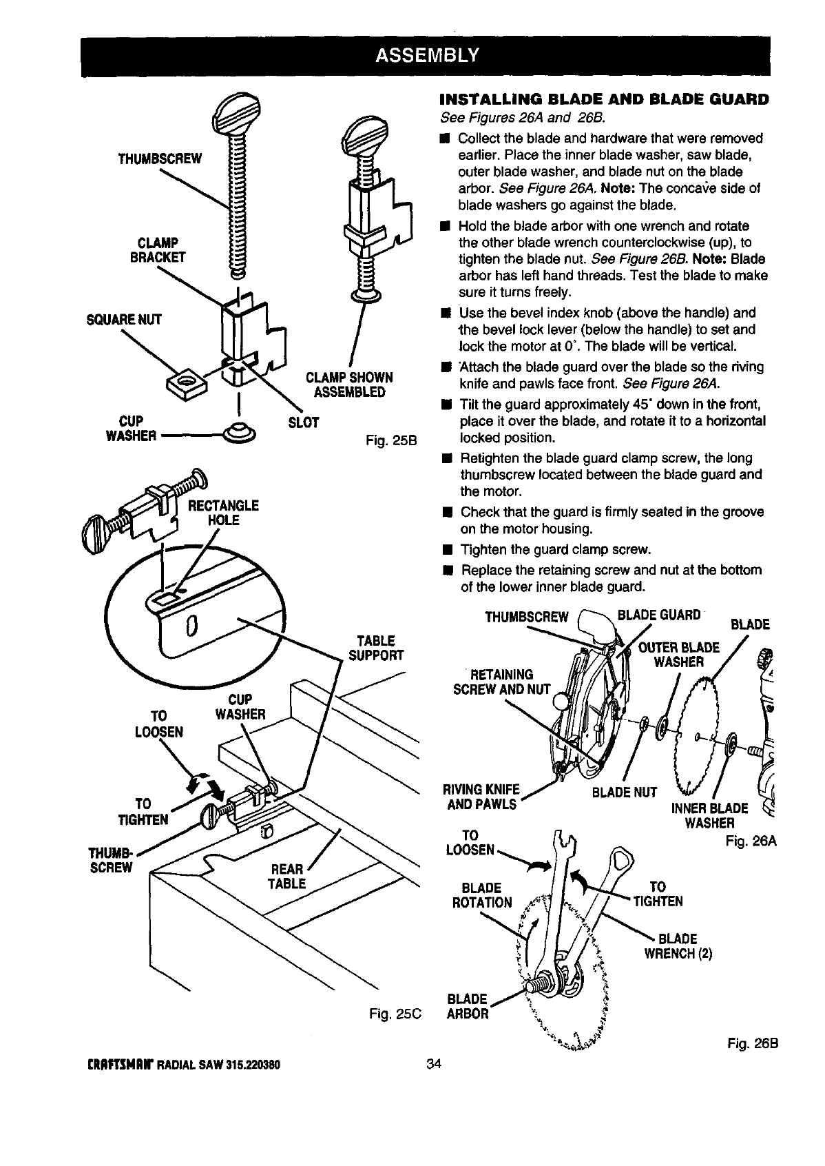 Page 34 of Craftsman Saw 315.22038 User Guide