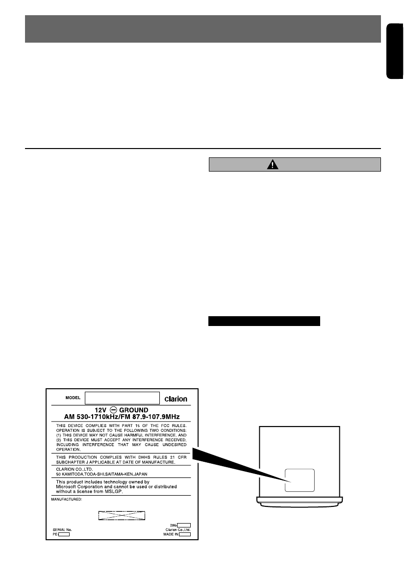 Page 3 of Clarion CD Player DXZ665MP User Guide