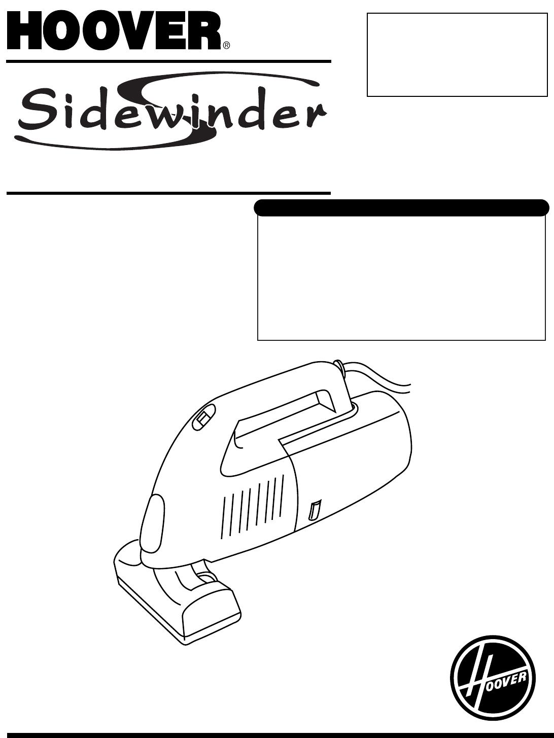 Hoover Vacuum Cleaner Sidewinder User Guide