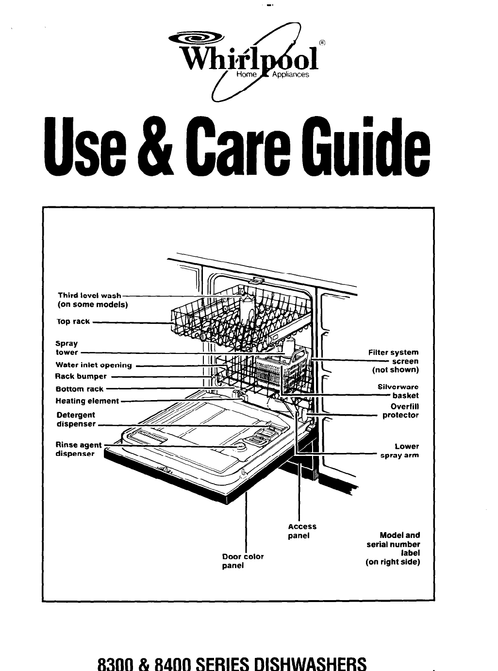 Whirlpool Dishwasher 8300 Series User Guide