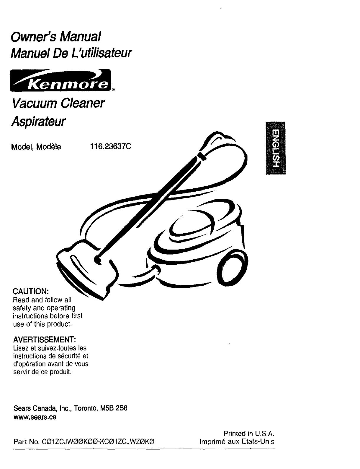 Kenmore Vacuum Cleaner 116.23637C User Guide