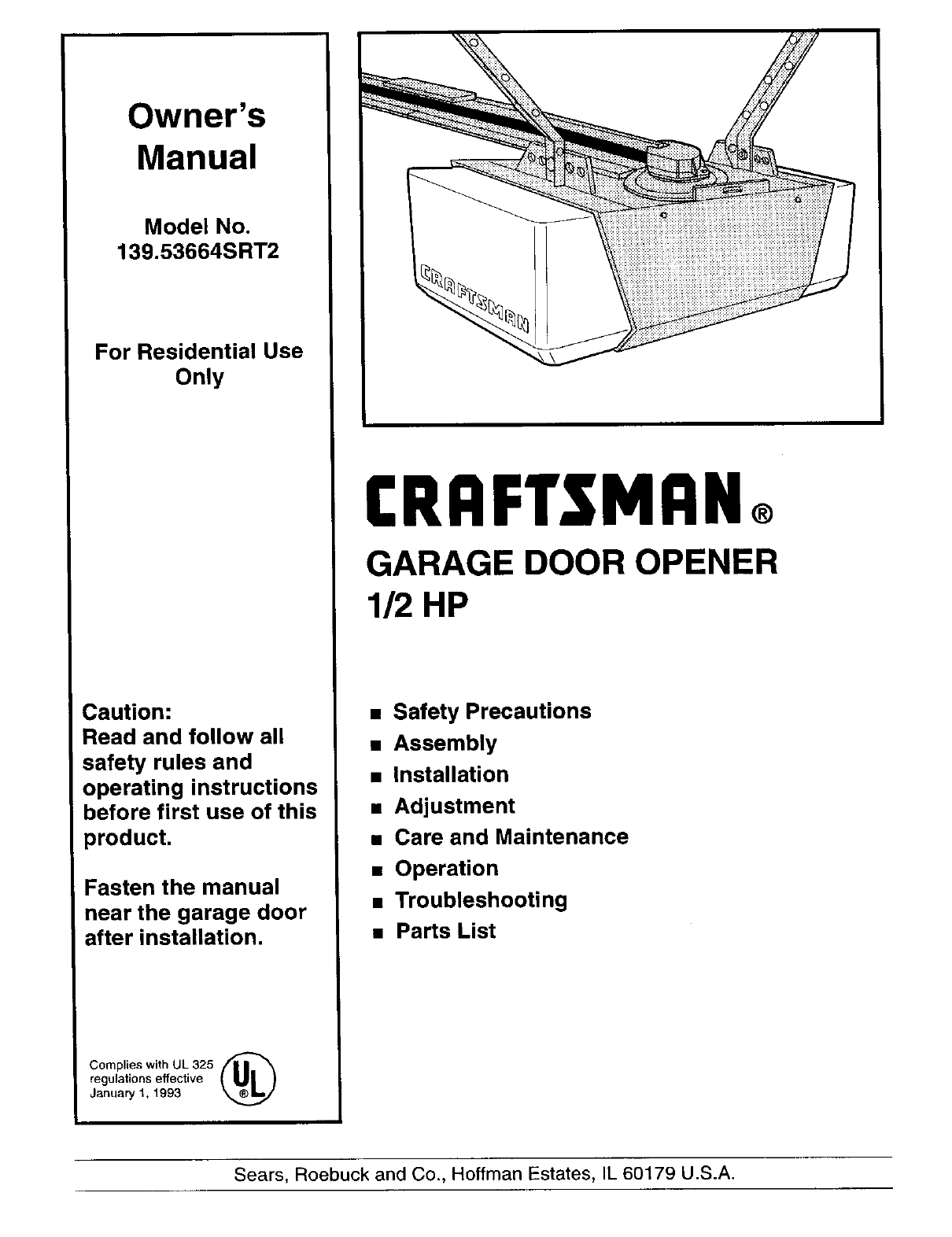 Craftsman Garage Door Opener 139.53664SRT2 User Guide