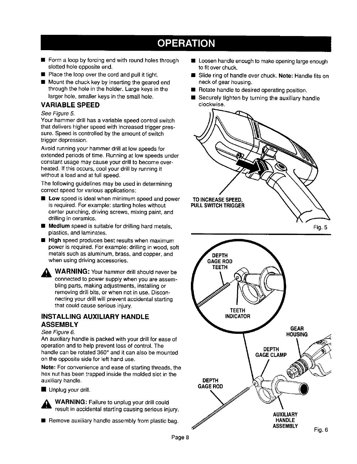 Page 8 of Craftsman Drill 315.10136 User Guide