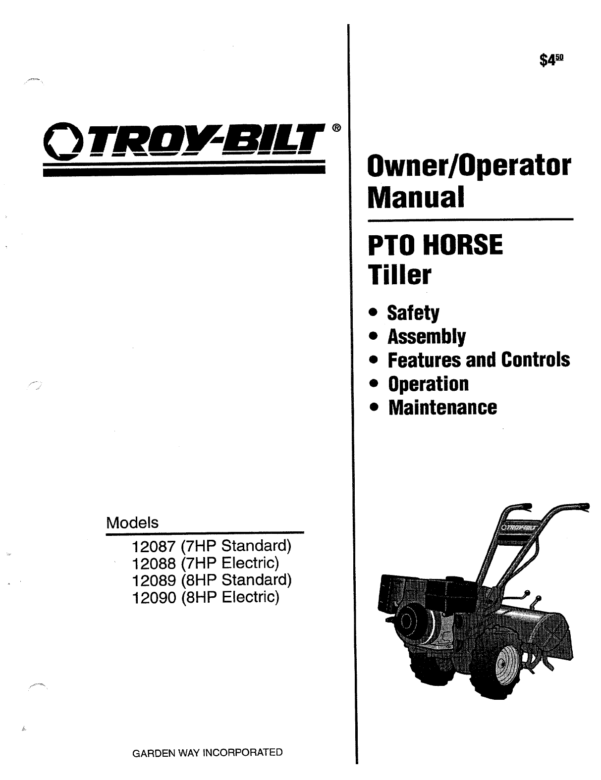 Troy-Bilt Tiller 12087, 12088, 12089, 12090 User Guide