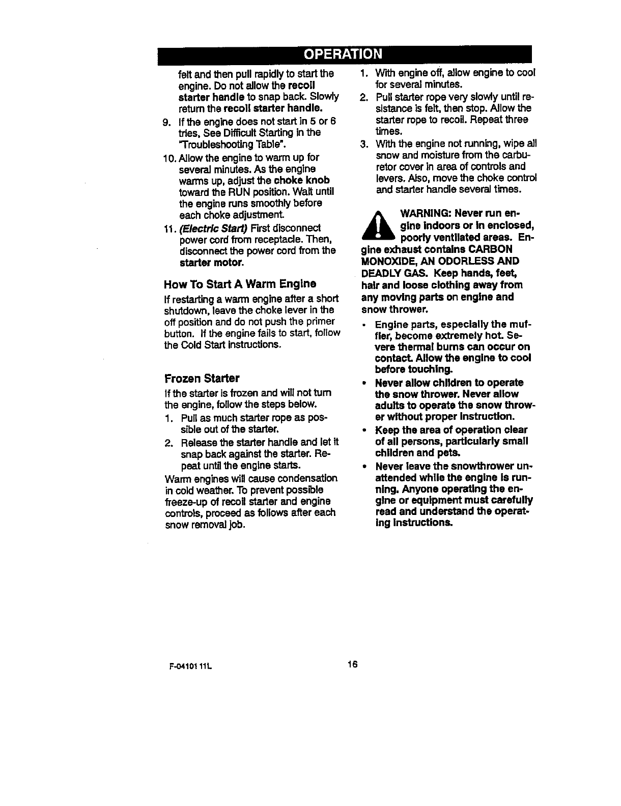 Page 16 of Craftsman Snow Blower 536.88155 User Guide