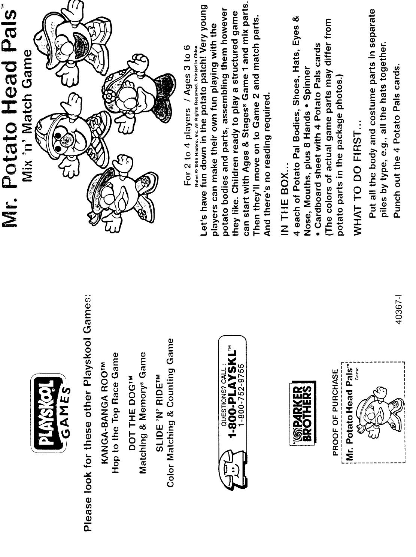 Hasbro Games Mr. Potato Head Pals User Guide