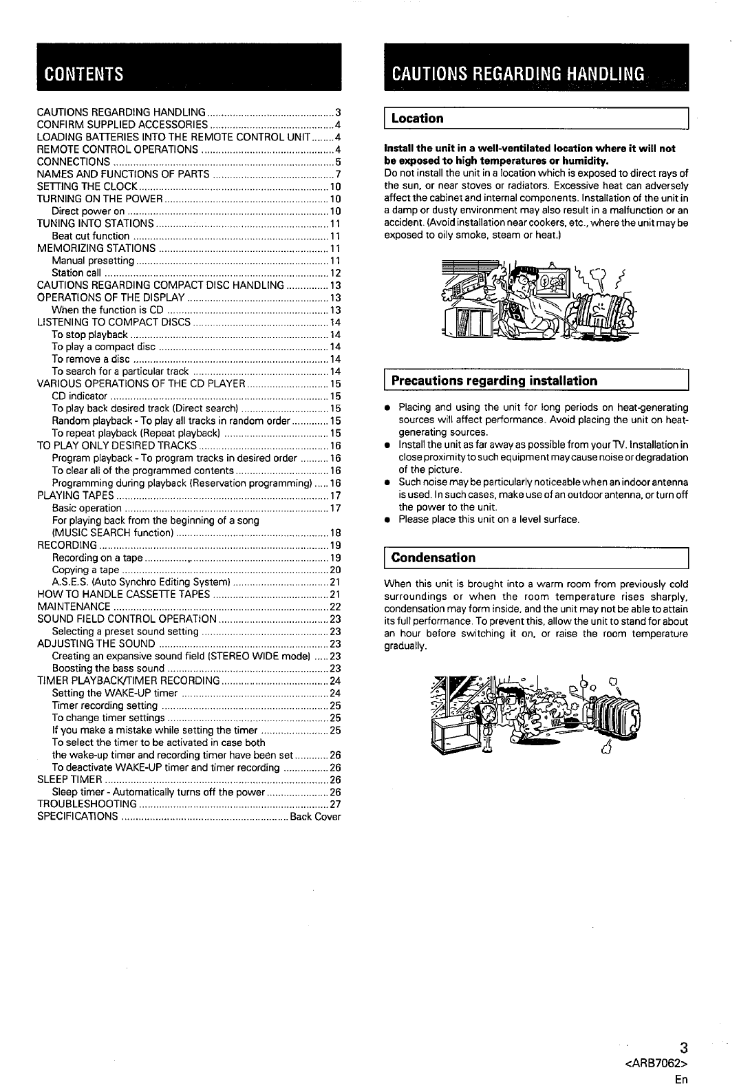 Page 3 of Pioneer Car Stereo System XR-P160 User Guide