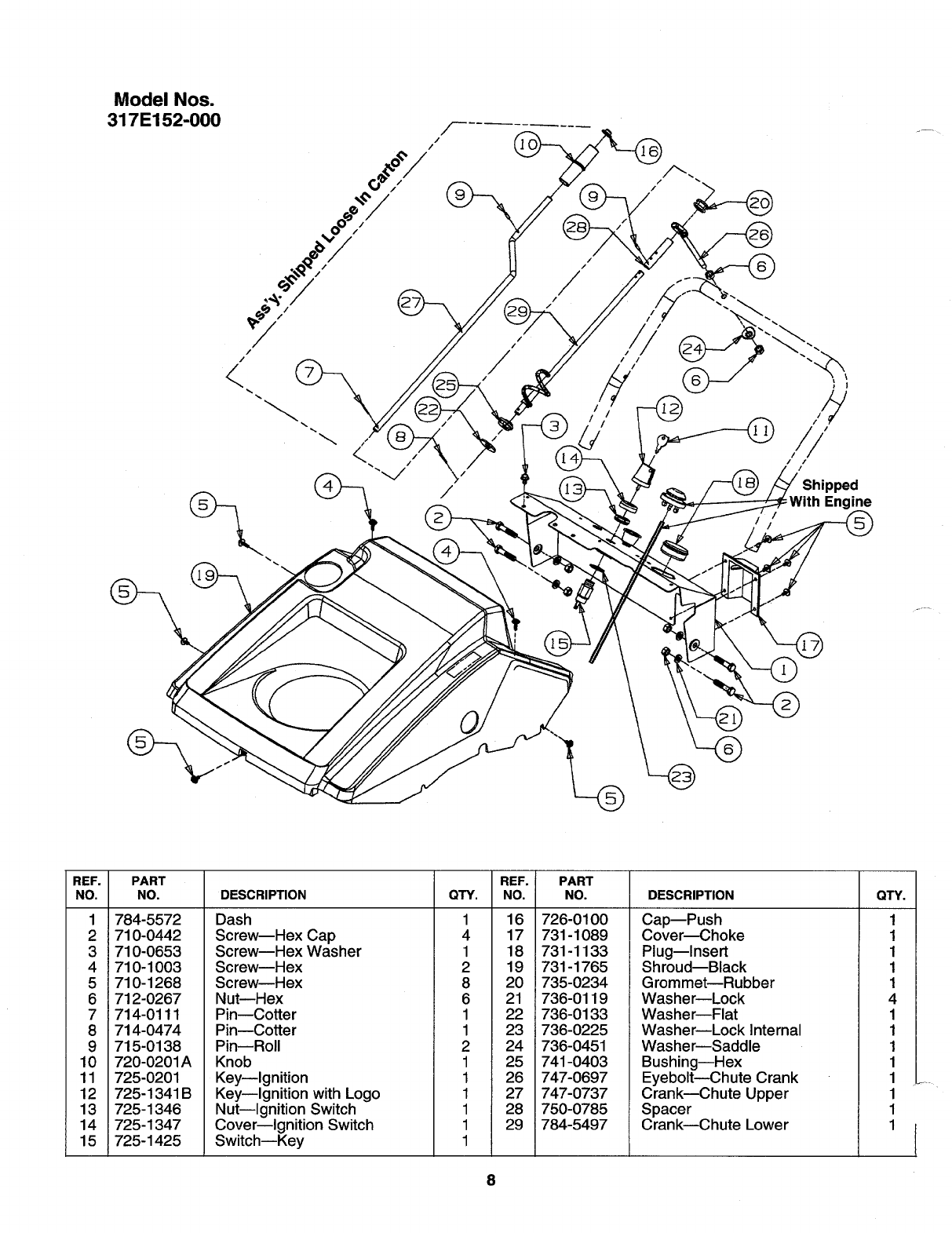 Page 8 of MTD Snow Blower 317E150-000 User Guide
