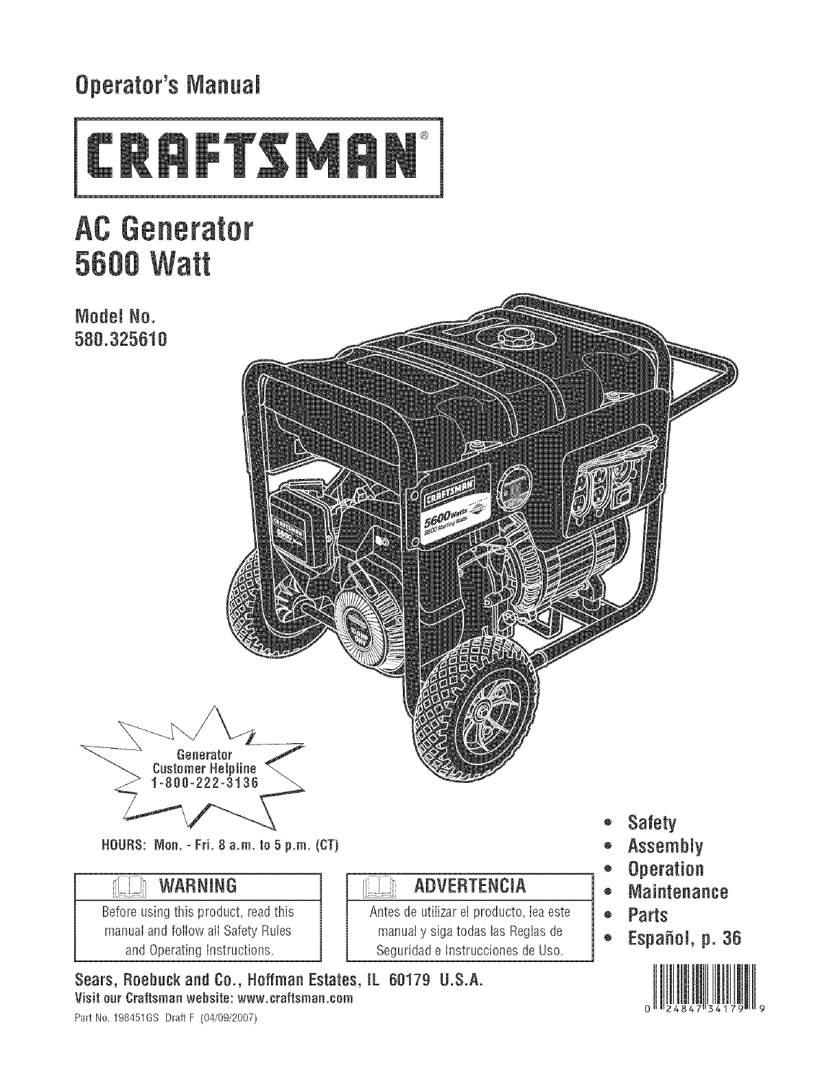 Craftsman Portable Generator 580.32561 User Guide