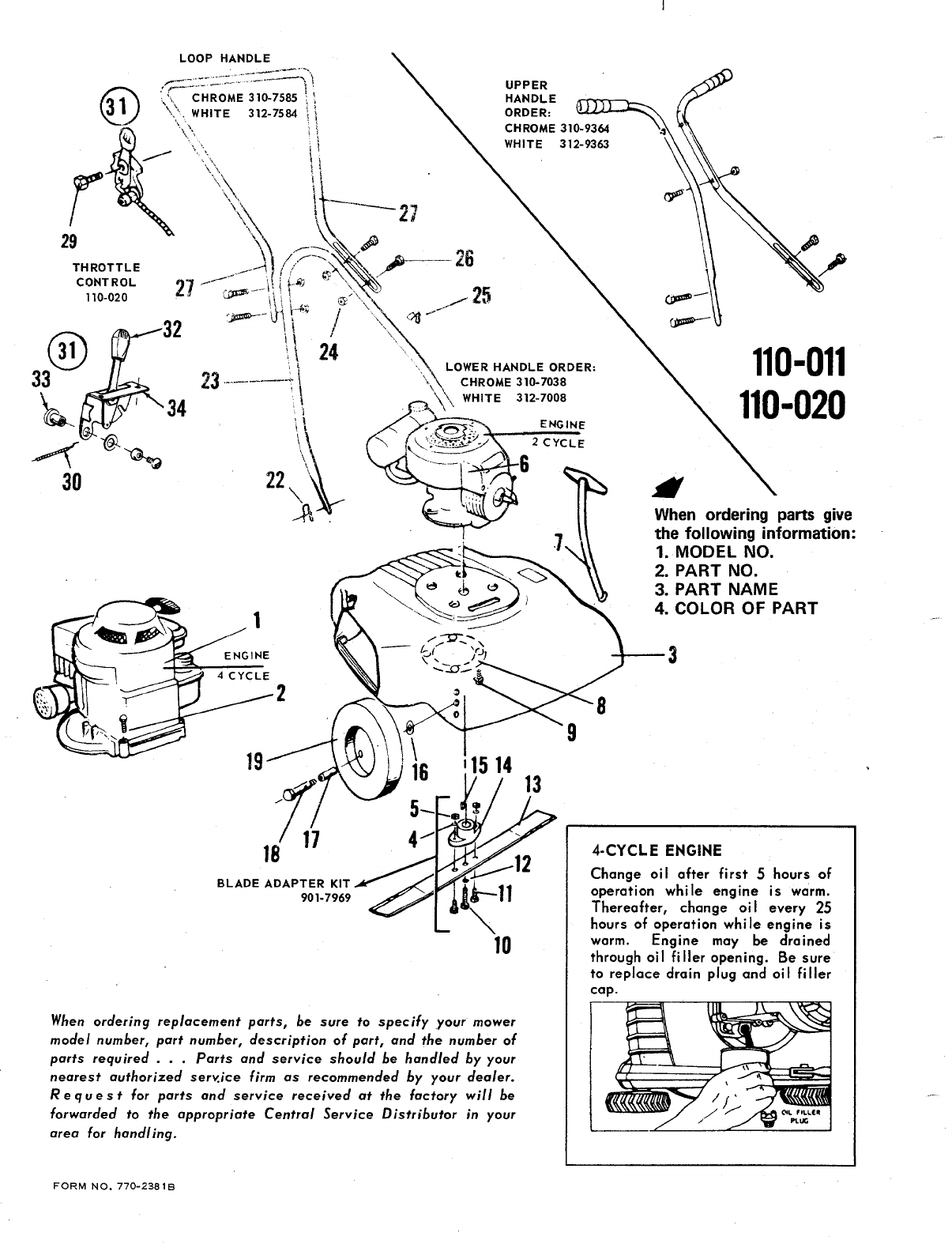 Page 2 of MTD Lawn Mower 110-020 User Guide