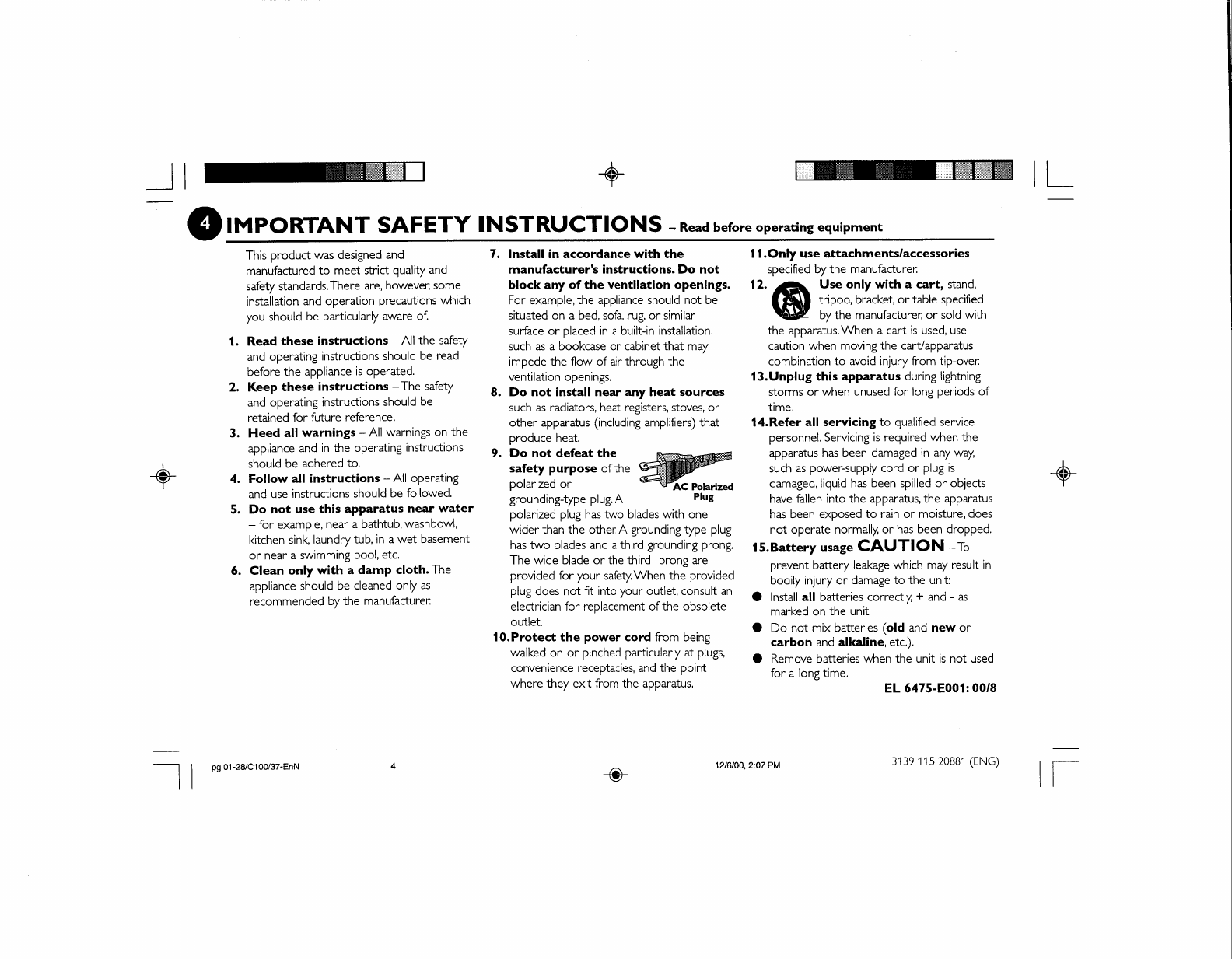 Page 7 of Philips Speaker System FW-C100 User Guide